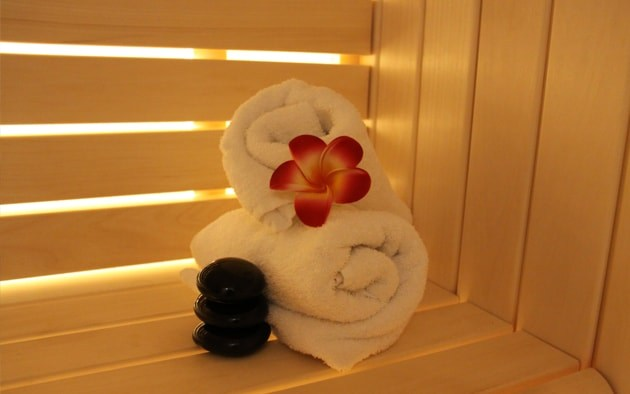 spa and beauty section towel and buddha image